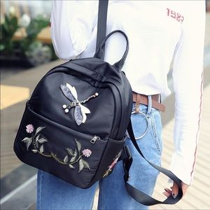 DRAGONFLY EMBROIDERED BACKPACK